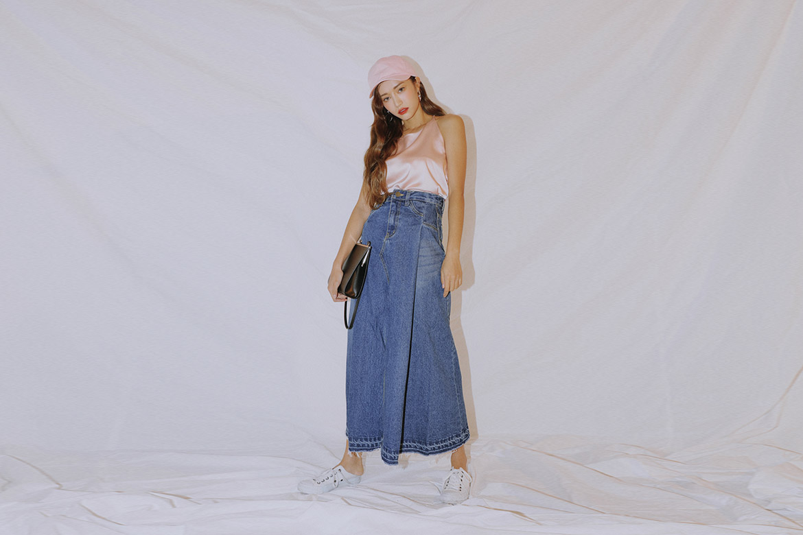flare denim front slit long SK