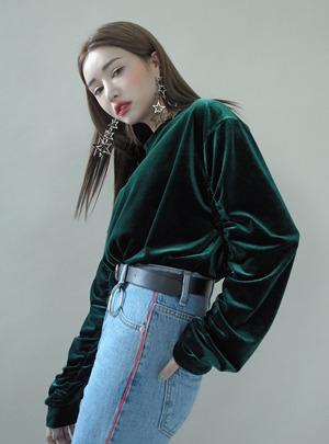 샤인벨벳 셔링소매 맨투맨